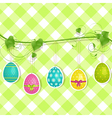 Hanging easter egg background on green vector