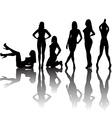 Black sexy women silhouettes with shadows vector
