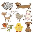 Isolated farm animals set on white background vector