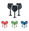 Wine glass grunge icon set vector