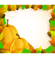 Pumpkins and leaves vector