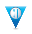 Knife and fork blue triangular map pointer vector