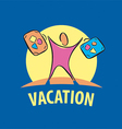 Logo tourist traveling with suitcases vector