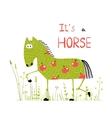 Childish colorful fun cartoon horse in grass field vector