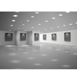 Empty white hall interior with blank black vector