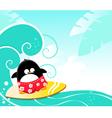 Surfing penguin vector