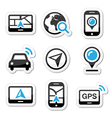 Gps navigation travel icons set vector