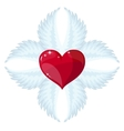 Cross- angel wings and a heart in the middle vector