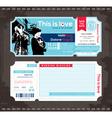 Ticket wedding invitation design template vector