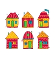 Set colorful houses in cartoon style vector