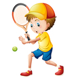 A young man playing tennis vector