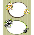 Round frame with flowers on striped background vector
