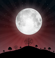 Full moon with stars and trees - vector