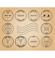 Post stamps on aged background vector