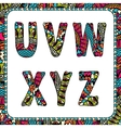 U v w x y z letters of alphabet with ethnic motifs vector