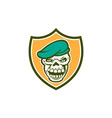 Skull beret shield retro vector