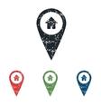 House pointer grunge icon set vector