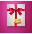 Box red ribbon bow and the badge amazing offer vector