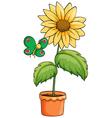 A pot with a sunflower vector