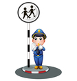 A policeman beside the street signage vector