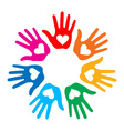 Loving hand print icon 7 colors vector