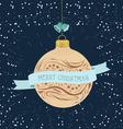 Vintage christmas greeting cardwith ball vector