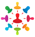 Concept of leadership colorful people icons - vector