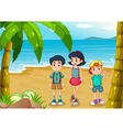 Children strolling at the beach vector