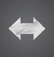 2 side arrow sketch logo doodle icon vector