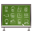 Chalk office icons vector