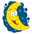 Moon mascot cartoon character in the sky vector