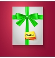 Gift box with green bow on red background deal of vector