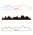 Reno skyline linear style with rainbow vector