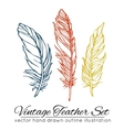 Vintage feather set isolated on white background vector