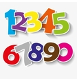 Set of colorful ribbon font numbers 0123456 vector