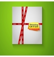 Gift box with red sale tape on green background vector