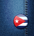 Cuba flag badge on jeans denim texture vector