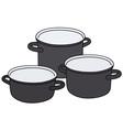 Black pots vector