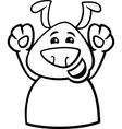 Happy dog cartoon coloring page vector