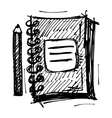 Black sketch drawing of notebook vector