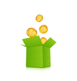 Open cardboard box with golden coins for st vector