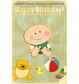 Vintage baby birthday card vector