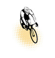 Male cyclist riding racing bicycle vector