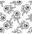One eyed monster with tentacles seamless pattern vector