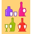 Set isolated coorful bottles and glassses icons vector