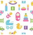 Newborn and toys background vector