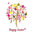 Easter tree with eggs and flowers vector