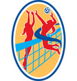 Volleyball player spiking ball blocking oval vector