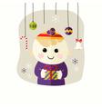 Christmas boy with decorative balls vector
