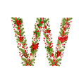 Christmas floral tree letter w vector